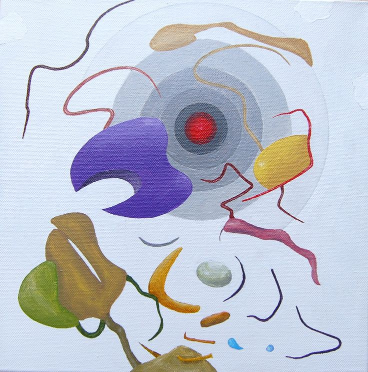 """Punto rosso"" acrilici su tela, cm 30x30, 2011"