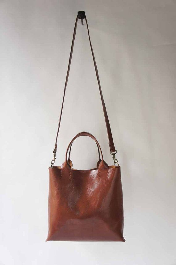 I have this in Green too! The Stella Bag  Italian Leather  Rum by stitchandtickle on Etsy, $340.00
