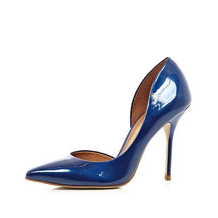 Blue patent cut out side court shoes £50.00