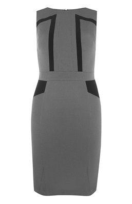 Grijze jurk met zwarte accenten