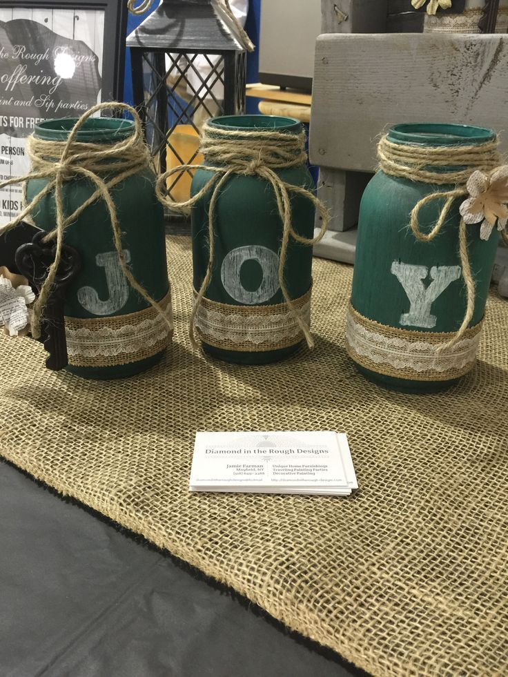 Set of 3 hand painted and stenciled mason jars *MADE TO ORDER, please note that each one will be different, each jar, bottle shape and effects can not be replicated. This product is one of a kind. Ple                                                                                                                                                      More