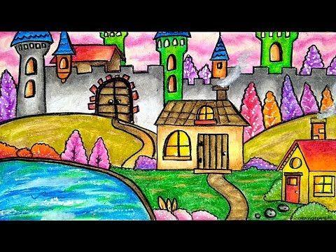 Cara Menggambar Dan Mewarnai Pemandangan Rumah Kastil Youtube