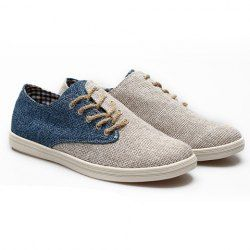 $19.56 Fashion Style Casual Men's Canvas Shoes With Color Matching and Weaving Design