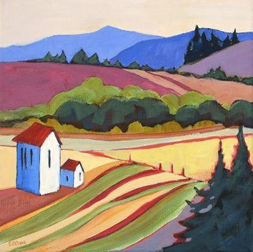 Hawley Creek Road, contemporary landscape painting -- Carolee Clark