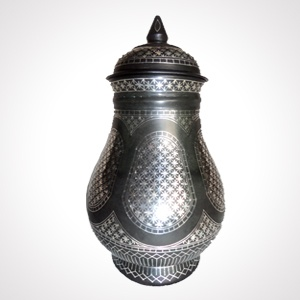 """Bidriware Pot (6"""") 'Flower Work'   Alloy with silver inlaying   MRP- Rs. 8995"""