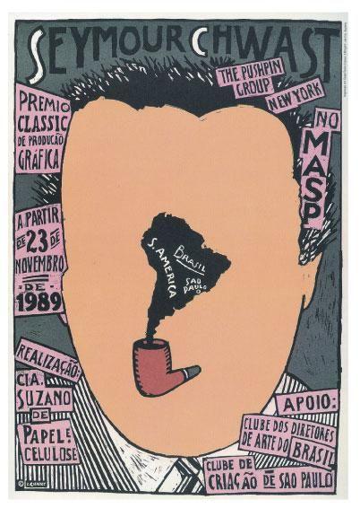 SEYMOUR CHWAST push pin graphic illustration vintage retro