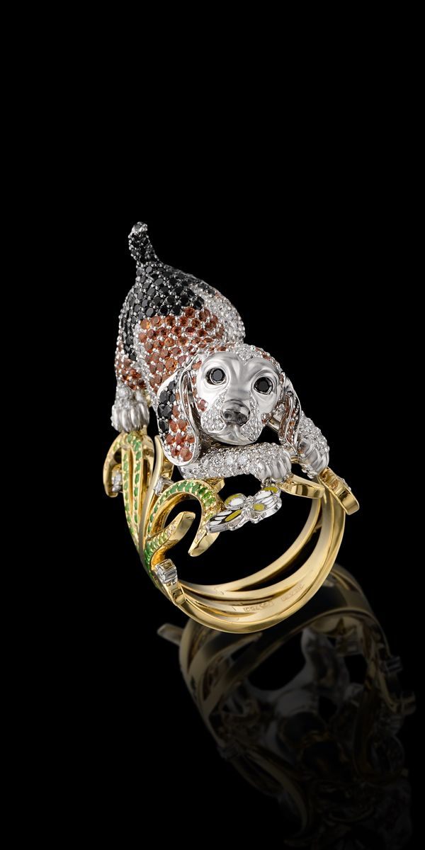 Master Exclusive Design-Animal Collection-Puppy dog ring- 18K yellow and white gold, diamonds, black diamonds, yellow diamonds, tsavority, demantoids, orange sapphires, enamel.