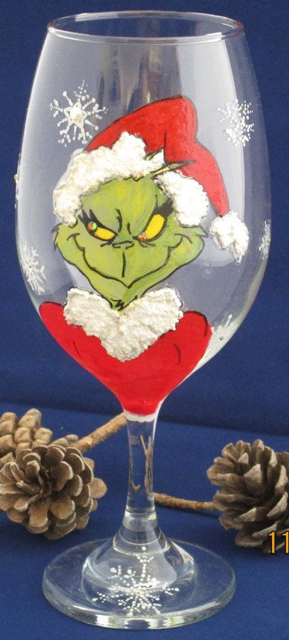 Grinch and Cindy Lou Who Wine Glasses by cassidy808 on Etsy