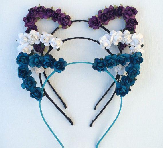 Flower cat ear headband, festival wear, music festival, cat ears, ultra, edc, Coachella, Rose Cat Ears