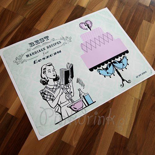 Plakat dla Panny Młodej z przepisem na udane małżeństwo. Każda z dziewczyn a imprezie powinna dorzucić swój składnik! :) #pomyslynapanienski