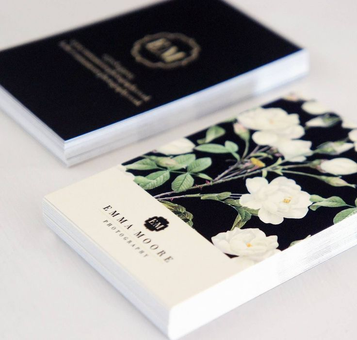 Floral, cream & black business cards | Copyright Becky Lord Design