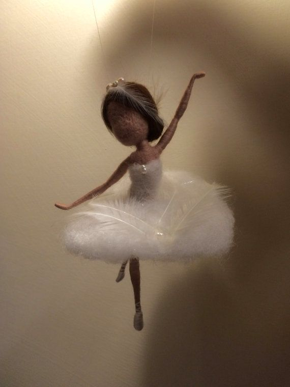 Needle felted fairy, Waldorf inspired, Wool, White Swan Fairy, Mobile, Children room, Home decor, Collectible Art doll, Ballerina,  Gift