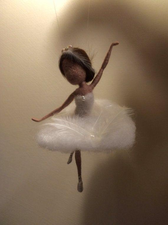 Needle felted fairy Waldorf inspired Wool White Swan by DreamsLab3