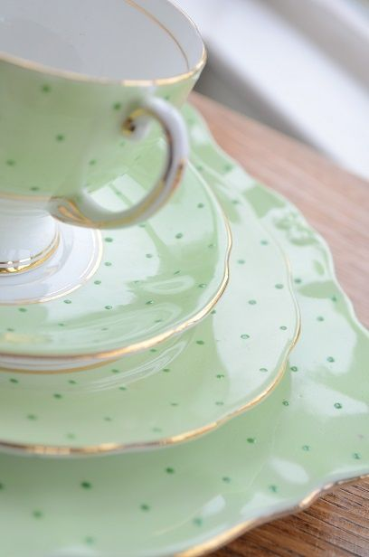 really like this shade of green -- so pretty. (So love this. I will admit I hoard china.  TG)