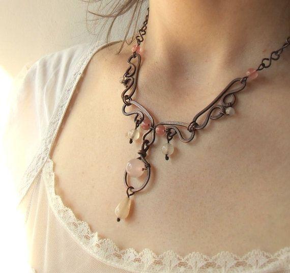 Pink rustic necklace rose quartz and cherry quartz antiqued copper jewelry on Etsy, $54.00