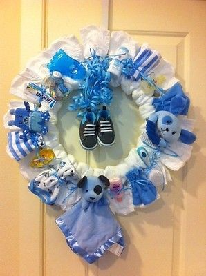 Baby Shower Diaper Wreath for Baby Boy