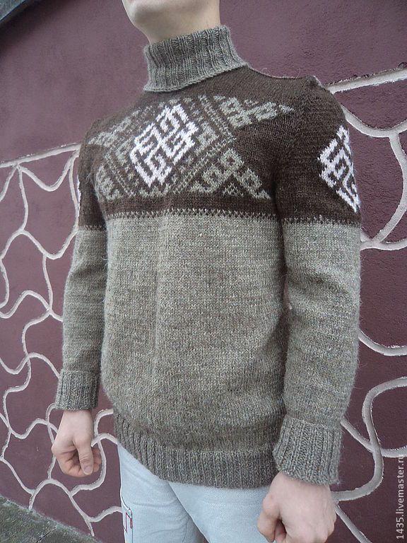 Купить Свитер Славянин1 - серый, свитер, свитер вязаный, свитер мужской, свитер спицами