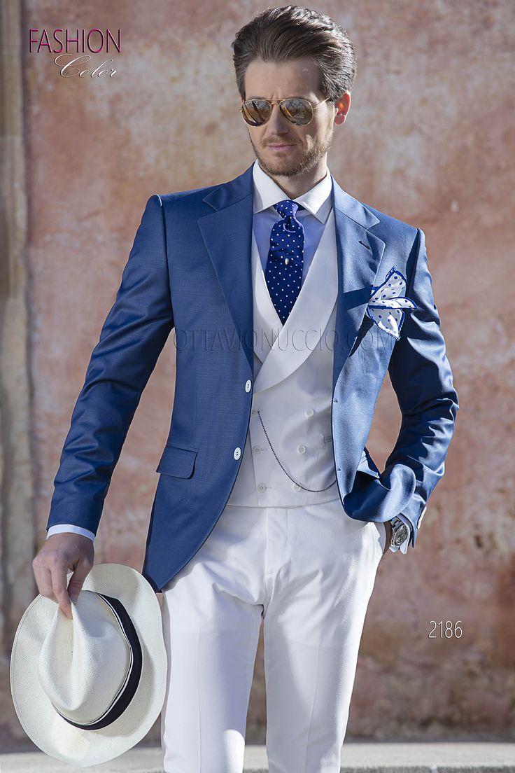 jaquette bleu roi de mariage homme avec pantalon et gilet. Black Bedroom Furniture Sets. Home Design Ideas