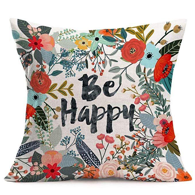 Aremazing Cotton Linen Home Farmhouse Decor Pillowcase Throw Pillow Cushion Cover 18 X 18 Inches Inspi Decorative Pillow Cases Throw Pillows Linen Pillow Cases