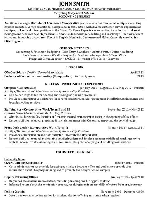 junior accountant resume sample