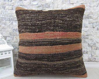 Prachtige handgeweven natuurlijke katoen Kilim Rug kussen Cover 16 x 16 Outdoor Boheemse kussen gooien kussen Azteekse kussen Home Decor etnische kussen