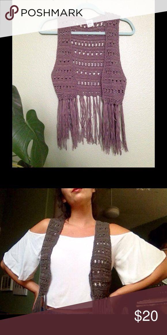 Crochet fringe vest Dark gray crochet fringe vest. Super fun piece for music festivals! Black Poppy Jackets & Coats Vests