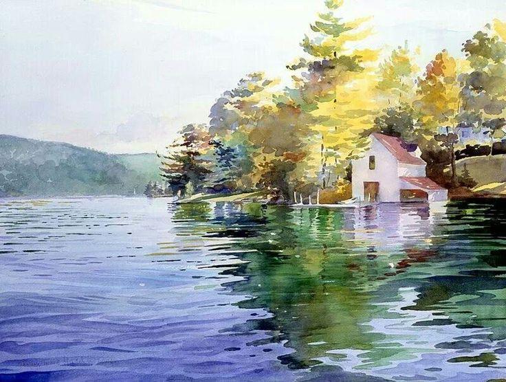 Watercolor landscape lake