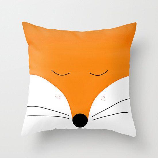 Fox pillow cover Animal 16x16 18x18 20x20 22x22 cushion Orange bedding, red fox, Orange Home decor bedroom nursery woodland Forest Gift
