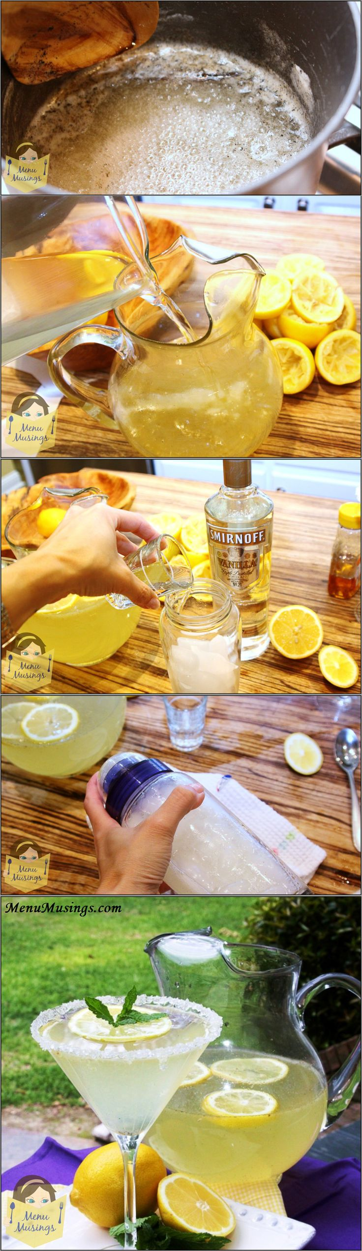 Honey Vanilla Bean Lemondrop Martini - Step-by-step photos!  And yes, you can make them without alcohol for the kids!