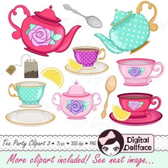 Tea Cup Clip Art Tea Party Bridal Shower Clipart High Tea Etsy Tea Party Tea Party Bridal Shower Party Clipart