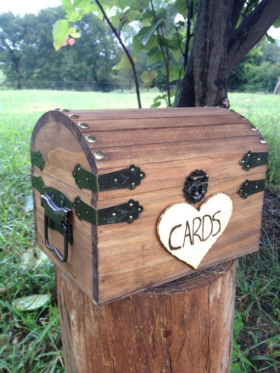 Wedding Dress Collection: Shabby Chic and Rustic Wooden Card Box - Rustic Style Wedding Card Box. $25.00, via Etsy.