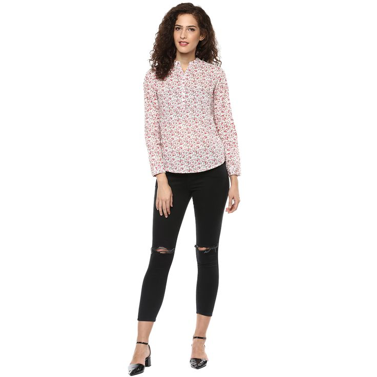 Buy White woven printed top, has a notched round neck, full sleeves with cuffs…