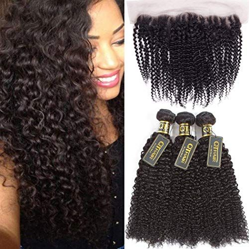 Amazing offer on QTHAIR 10A Brazilian Kinky Curly Hair Bundles With Frontal Closure(18 20 22+16,Natural Black) 13 x4 Ear To Ear Lace Frontal Closure With Afro Kinky Curly Hair Bundles online