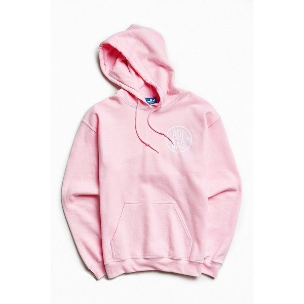 adidas Back Again Hoodie Sweatshirt ($68) ❤ liked on Polyvore featuring men's fashion, men's clothing, tops, men, mens clothing, men's apparel and pink mens clothing