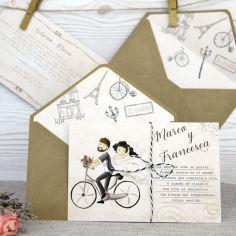 invitación postal novios en bicicleta