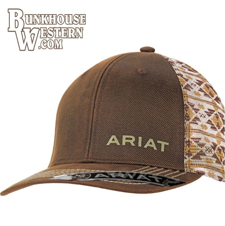 Ariat Mens Hat Baseball Cap Barbed Wire Oilskin Offset Logo Brown 1518002