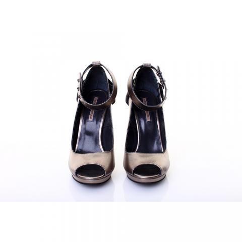 Pantofi piele argintie/bronz | The Boutique