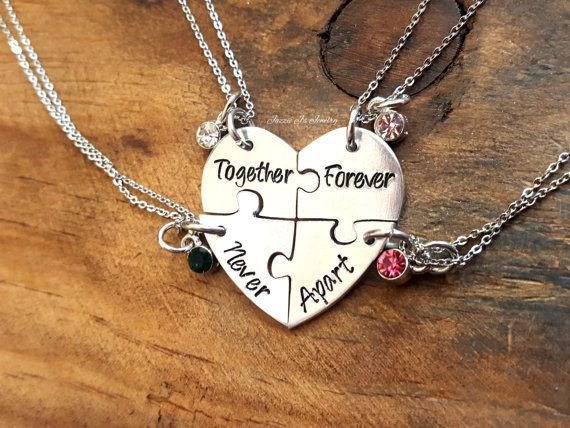 Together Forever Never Apart Four Piece Puzzle Heart Necklace