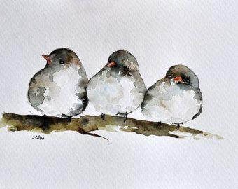 Portrait de l'oiseau ORIGINAL aquarelle peinture par ArtCornerShop