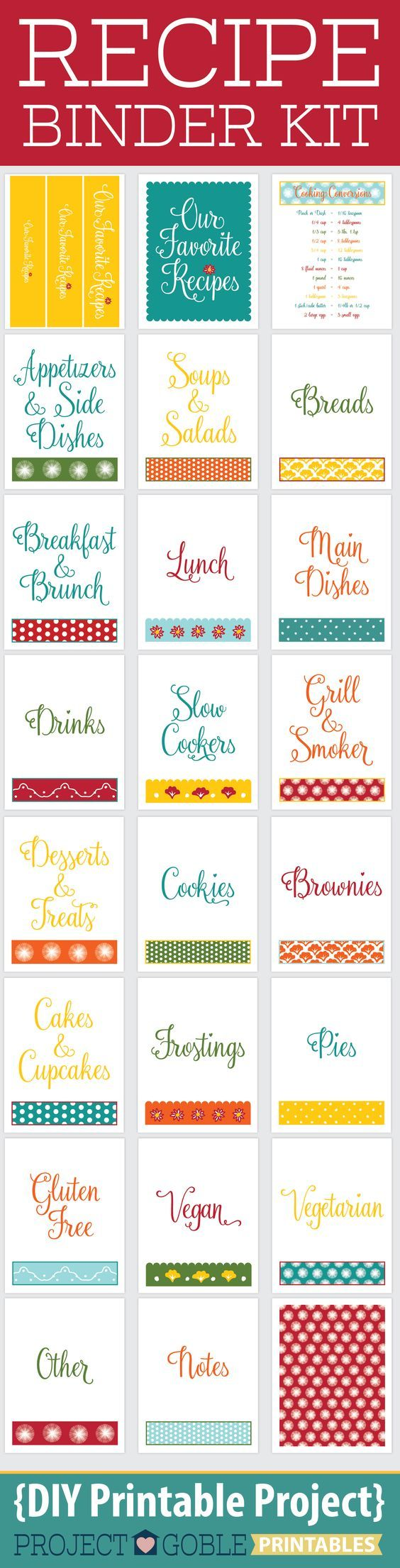 Recipe Binder DIY Printable available for Instant Download at ProjectGoble.com: