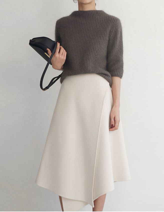Asymmetrical white skirt with slouchy grey sweater. Perfect for work