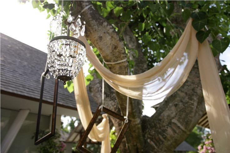Photo Booth adorned with crystal, frames and drapes by Tirtha Bridal Uluwatu Bali