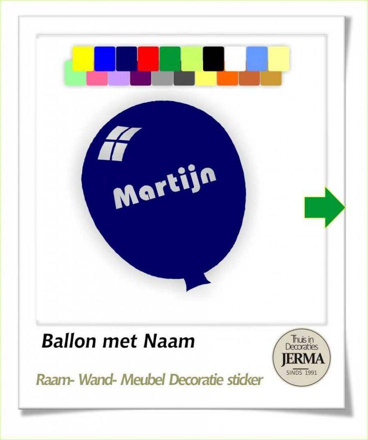 Decoratie sticker: Ballon decoraties stickers met je naam tekst.