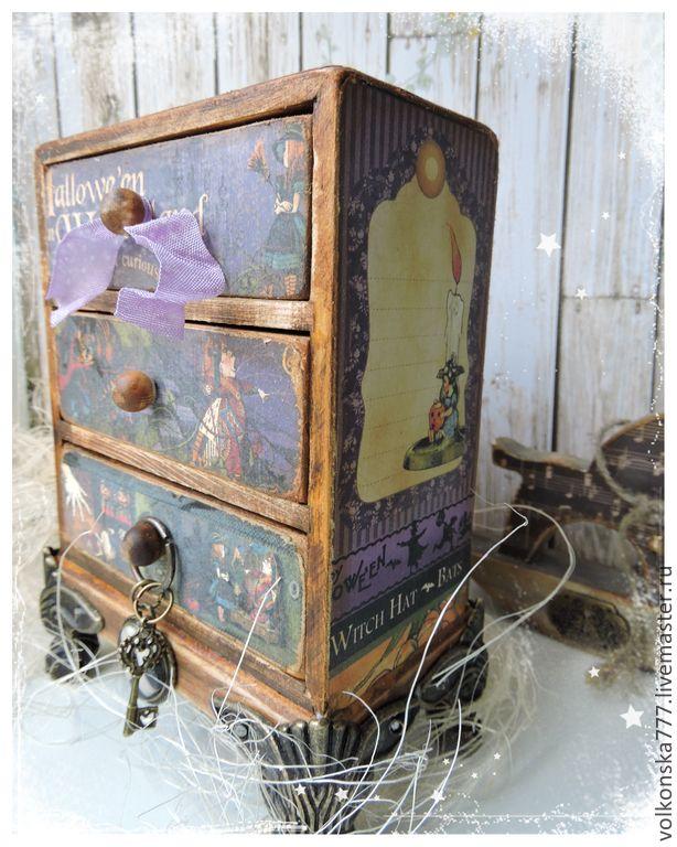 Купить Комодик Алисы - мини-комод - фиолетовый, мини-комод, комод сказочный