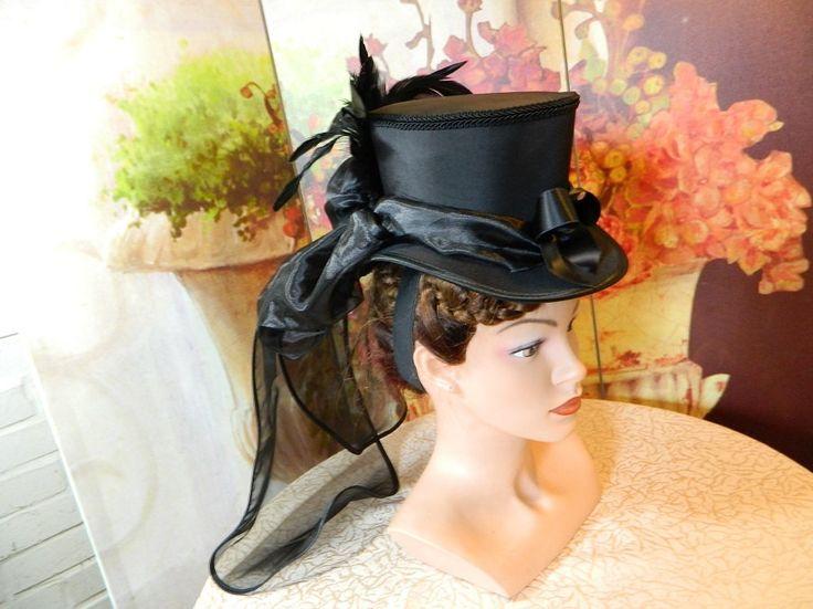 Tophat black Minihat Fascinator Minizylinder Steampunk Burlesque Wedding Bonnet Gothic Gown formal Dress Fascinator Hut Chapeau riding by Nashimiron on Etsy
