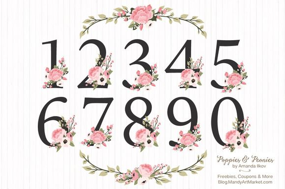 Soft Pink Floral Number Vectors by Amanda Ilkov on Creative Market