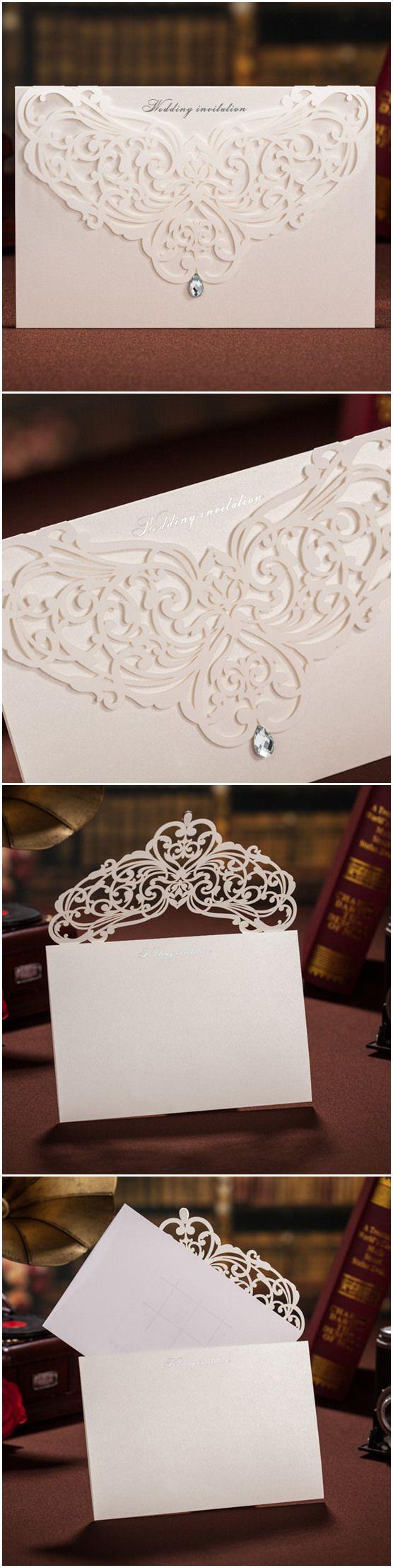 all white elegant laser cut wedding invitations with rhinestone