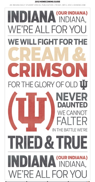 Indiana fight song: this would look great on a canvas by itself or in a frame.  Might have to go duplicate one