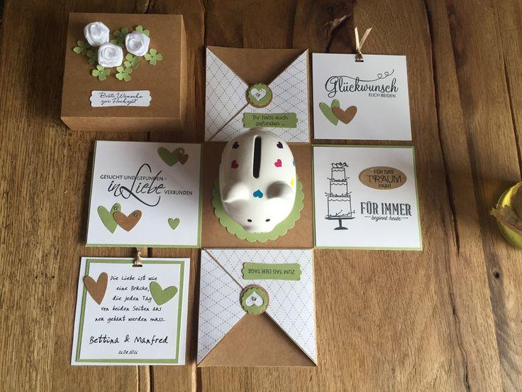 Geldgeschenke - Geldgeschenk / Explosionsbox zur Hochzeit - ein Designerstück von AlpenPapierwerkstatt bei DaWanda