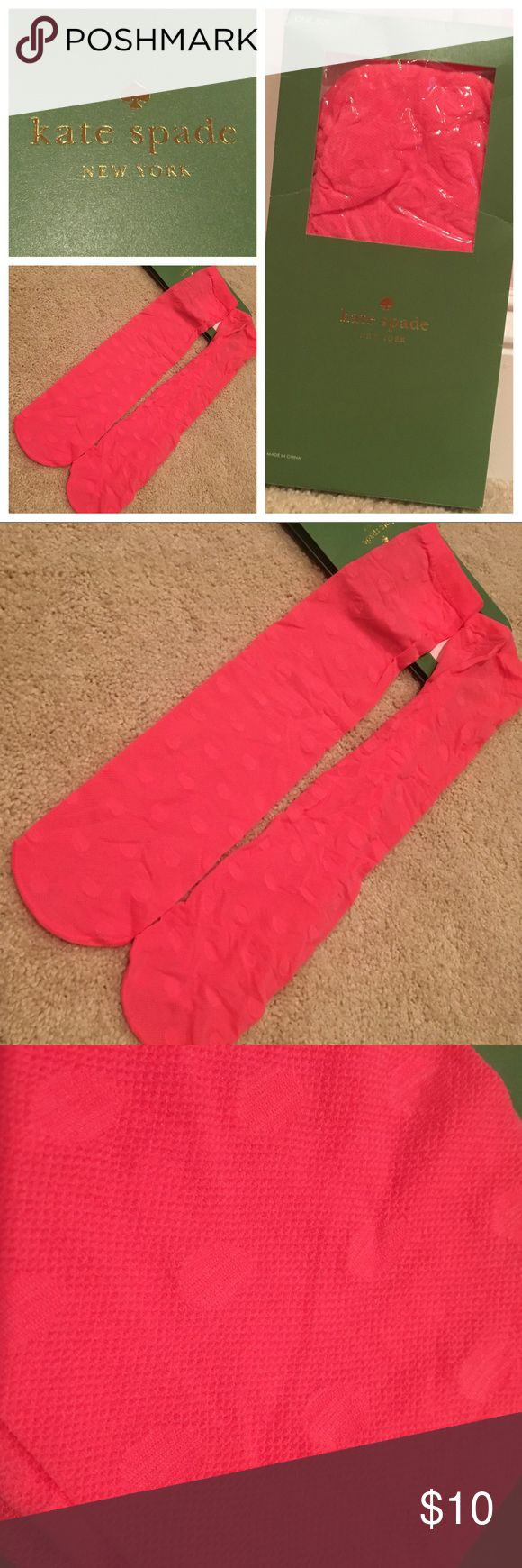 NWT Kate Spade KneeHigh Nylon Socks Pink Polka Dot New, never been worn Kate Spade nylon knee highs in hot pink! Been taken out of the package but they are brand new. They are made of a hosiery material so they are slightly sheer with polka dots. kate spade Accessories Hosiery & Socks